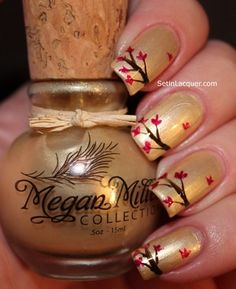Fall Leaves Design on Nails
