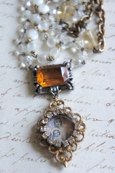 Golden Moment Vintage assemblage necklace by frenchfeatherdesigns