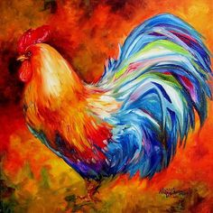 Rooster Paintings On Canvas - Bing images Rooster Painting, Rooster Art, Chicken Painting, Chicken Art, Buffalo Painting, Galo, Art Portfolio, Pictures To Paint, Animal Paintings