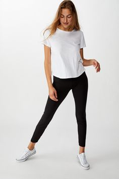 Black Leggings, Girl Fashion, Normcore, Sporty, Casual, Cotton, Outfits, Clothes, Tops