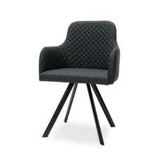 Eetkamerstoel Hogith antraciet is een stijlvolle stoel voor in de eetkamer. De stoel heeft een mooie strakke vormgeving. Het diamantpatroon op de stoffen zitting en aan de binnenkant van de rugleuning geven de stoel een chique uitstraling. Hogith heeft heerlijke armleuningen die het zitcomfort verhogen. Het onderstel is van de stoel gemaakt van zwart metaal. Deze comfortabele eetkamerstoel is naast antraciet ook leverbaar in grijs. Afmeting: Breedte: 44 cm Diept...