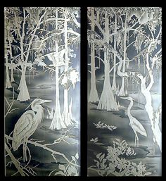 Etched Flying Eagle Mountain Landscape Doors Doorways
