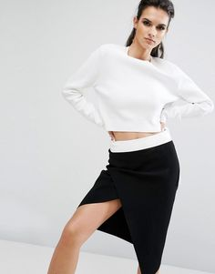 #Valentines #AdoreWe #ASOS - #Kendall + Kylie Kendall + Kylie Side Buckle Long Sleeve Top - White - AdoreWe.com