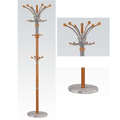 Nata Collection Modern Cherry Finish Coat Rack with Marble Base