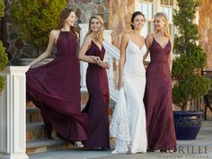 Spring 2018 Bridesmaids Collection, from left to right: Style 21572 in Eggplant, Style 21569 in Eggplant, Style 21555 in Bordeaux