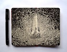 Kerby Rosanes is an illustrator who is based in the Philippines, and he has a ton of incredibly detailed Moleskine doodles. In fact, that's how his career began. He would do his doodles in his notebooks, and then share them online. Moleskine Sketchbook, Sketchbook Drawings, Sketches, Pen Drawings, Sketchbooks, Zentangle, Doodle Art, Crayons Pastel, Pen Doodles