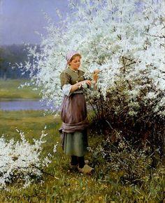 Spring Blossoms by American Impressionist Daniel Ridgway Knight (1839 - 1924).