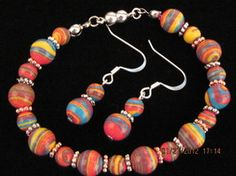 Multicolored glass bead necklace and earring set