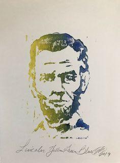 Original painting President Abraham Lincoln block originals art from artist EAEH Abstract Portrait, Portrait Art, Handmade Paint, Canvas Art, Canvas Prints, Original Art For Sale, Impressionist Art, Abraham Lincoln, Original Paintings