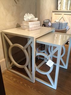 Set of 2 Lacquer Nesting Tables - 24W x 20D x 24.25 H