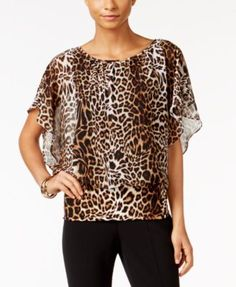 JM Collection Flutter-Sleeve Animal-Print Top, Only at Macy's