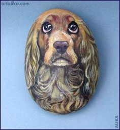 Hand painted rocks: dogs:Cocker spaniel this artist is fantastic her name is alika at artalika.com