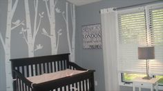 Soothing Nursery, birch tree wall decals from etsy