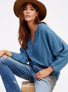 Cheap blouse blue, Buy Quality casual blouse directly from China soft blouse Suppliers: 2018 women's clothing autumn batwing sleeve leisure shirts women cotton soft blouses blue color fall top shirts casual blouses Denim And Supply, Denim Outfit, Denim Fashion, Clothes For Women, How To Wear, Free People, Batwing Sleeve, American, Fall