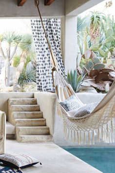 Dream Pools :: Tropical Home :: Decor + Design Inspiration :: Dive In :: Cool Off :: Free Your Wild :: See more Untamed Poolside Paradise Inspiration @untamedorganica Bohemian Interior Design, Hammock, Anthropologie, Macrame, Deck, Anthropology, Patio, Hammocks, Decks