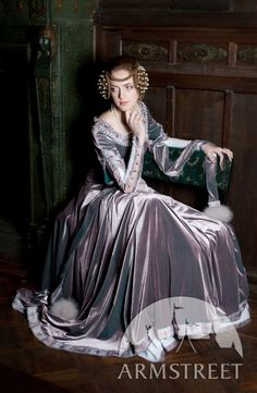 "Exclusive Velvet Embroidered Medieval Dress ""Lady Rowena"". $439.35, via Etsy."