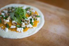 Gluten-Free Cauliflower Pizza Crust with Sweet Potato, Goat Cheese, Walnuts and Asparagus