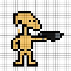 Battle Droid Perler Bead Pattern Star Wars Quilt, Star Wars Art, Melty Bead Patterns, Pearler Bead Patterns, Beading Patterns, Perler Bead Art, Perler Beads, Chewbacca, Minecraft Quilt