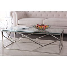 Bowman contemporary tempered clear glass coffee table with sturdy stainless frame