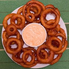 Beer Battered Onion Rings and Cajun Dip