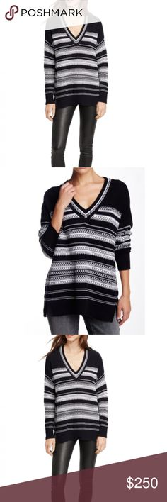 VINCE $400NWT Black/White Tunic Top Cotton Sweater VINCE, NWT  Ladies Textured Stripe V Neck Sweater $375.00 NWT  This Vince V-neck sweater is made of 100% soft cotton with a thick gauge. It features a chic graphic stitching that plays contrast tones & variegated stripes. Easy fit through the body and gives it a relaxed drape look that works for any day or occasion.  Features: - V-neck - Dropped shoulders - Long sleeves - Textured - Ribbed trim  - Side slits - Machine wash or dry clean…