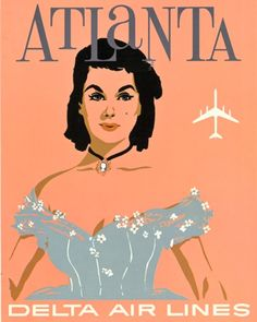 Vintage Atlanta Delta Travel Poster. Gone With The Wind Theme.