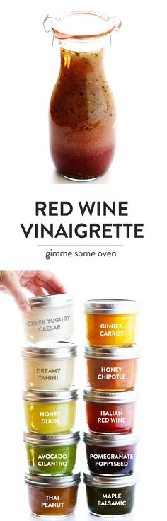 The BEST Red Wine Vinaigrette recipe!  It's quick and easy to make, super versatile, and it doubles as a delicious salad dressing and marinade! | gimmesomeoven.com