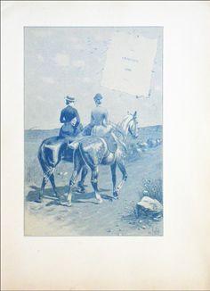 EQUITATION : PROMENADE sur la plage à cheval en AMAZONE - Gravure du 19e