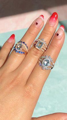 Aquamarine Engagement Rings, March Birthstone Rings in Rose Gold Dream Engagement Rings, Rose Gold Engagement Ring, Vintage Engagement Rings, Stacked Engagement Ring, Bridal Rings, Bridal Jewelry, Wedding Rings, Diamond Rings, Diamond Necklaces