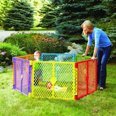 Baby Superyard panels interlock and are pre-connected. Create a safer play area with this North States Indoor/Outdoor Portable Play Yard. The six-panel play yard can be used on any flat surface to create an enclosed area. Portable Play Yard, Portable Fence, Baby Playpen, Baby Cribs, Toddler Playpen, Infant Toddler, Baby Safety, Child Safety, Humor