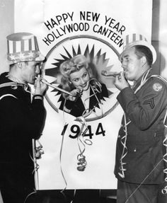 Seaman First Class Clayton Johnson, Dolores Moran and Cpl. Bing Crosby wishing everyone a Victory New Year for 1944.