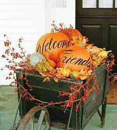 welcome pumpkins fall decor autumn decorations outdoor decor - Outside Fall Decorations