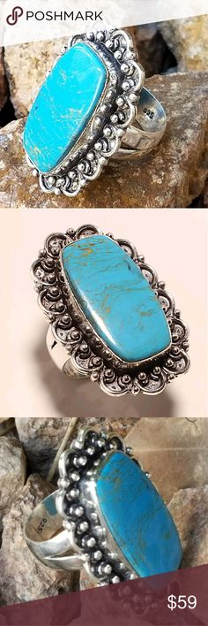 """BLUE COPPER TURQUOISE RING 1"""" Blue Copper Turquoise Ring (Size 7) with Solid Sterling Silver Band, Stamped 925 """"BEAUTIFUL VINTAGE STYLE"""" Jewelry Rings"""
