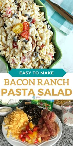 Bacon Ranch Tomato Pasta Salad is a summer BBQ side dish favorite. See full recipe on TodaysCreativeLife.com Yummy Pasta Recipes, Quick Recipes, Side Dish Recipes, Quick Easy Meals, Salad Recipes, Tomato Pasta Salad, Bacon Ranch Pasta Salad, Side Dishes For Bbq, Best Side Dishes