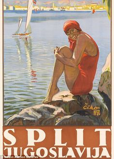 An illustration of a young female swimmer was used to lure visitors to Split...