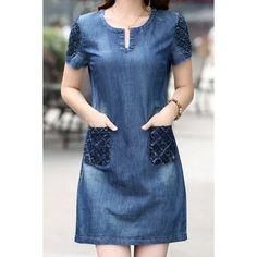 Brief Scoop Neck Blue Short Sleeve Denim Dress For Women