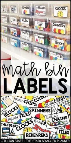 Organize all of your math manipulatives and math supplies with these clear, colorful labels. Help students access math supplies independently during your guided math centers, or center rotations. Having your supplies clearly labeled and organized is a g First Grade Classroom, 1st Grade Math, Future Classroom, Kindergarten Classroom Setup, Math Classroom Decorations, Preschool Classroom Labels, Kindergarten Labels, Second Grade, Preschool Classroom Management