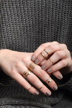 Essie Master Plan and Catbird stacking rings.