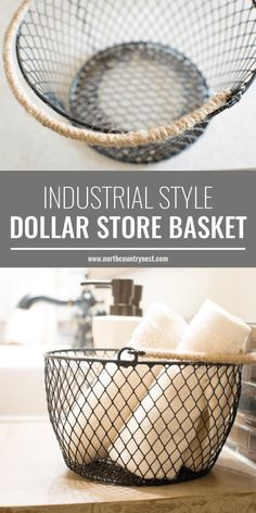 DIY Industrial Style Dollar Store Basket Put 2 on bathroom counter. Put chalkboard labels 1 Clean 1 Dirty for wash cloths used as hand towels after washing hands instead of 1 towel hanging. - Pantry With Organization Kitchen Dollar Store Bins, Dollar Store Hacks, Dollar Stores, Dollar Dollar, Dollar Store Decorating, Dollar Store Mirror, Industrial Home Design, Industrial House, Industrial Style