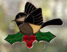 Christmas Chickadee Stained Glass