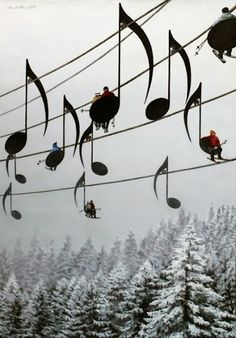 Musical note ski lift, in France. S)