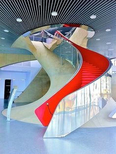 Either the University of Mars or the MUMUTH, University of Music and Performing Arts Graz, Austria by Ken Lee 2010 Architecture Unique, Stairs Architecture, Interior Architecture, Grand Staircase, Staircase Design, Slide Staircase, Spiral Staircases, Interior Stairs, Interior And Exterior