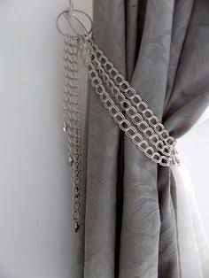 SET OF 2 Decorative Curtain Tiebacks Silver Chains With Glass Pendants Drapery Holder