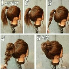 Pony tail, full out top, rope/spiral braid, twist and pin into bun.