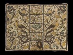 Embroidered book cover, made in England, 1600-50