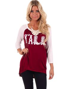 Lime Lush Boutique - White and Burgundy Y'all Baseball Style Top, $29.99 (http://www.limelush.com/white-and-burgundy-yall-baseball-style-top/)