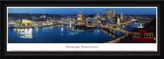 Pittsburgh Skyline Panoramic Picture - Single Matted Frame $149.95
