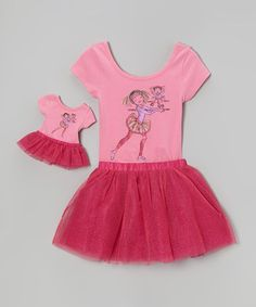 Take a look at this Pink Dancing Girl Leotard Set & Doll Outfit - Girls by Dollie & Me on #zulily today!