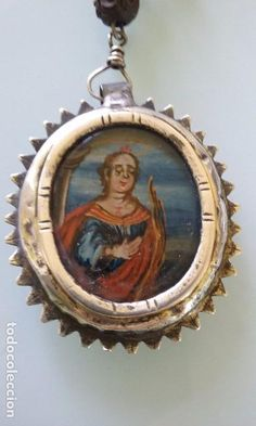 Antigüedades: RELIQUIA RELICARIO ROSARIO PLATA DOS CARAS OLEO SOBRE CRISTAL SIGLO XVII - Foto 2 - 61419711