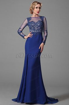 Gorgeous Long Sleeves Evening Gown With Lace Applique Details USD:211.22